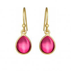 Øreringe med pink krystal dråbe - 5249-2-183