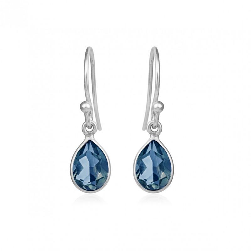 Ørehænger med London blue krystal - Ørehænger med London blå krystal