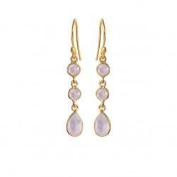 Ørehænger med lyserød krystal - 5266-2-112