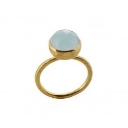 Ring i forgyldt sølv med lyseblå krystal - 10 mm - 1678-2-111