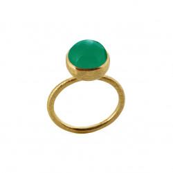 Ring i forgyldt sølv med grøn agat - 10 mm - 1678-2-102