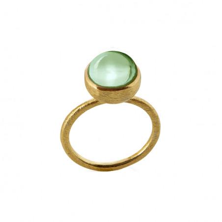 Ring i forgyldt sølv med grøn kvarts - 10 mm