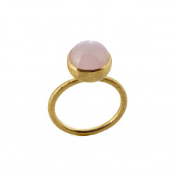 Ring i forgyldt sølv med lyserød krystal - 10 mm - 1678-2-107