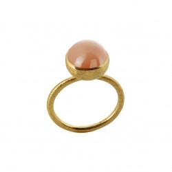 Ring i forgyldt sølv med peach månesten - 10 mm - 1678-2-124