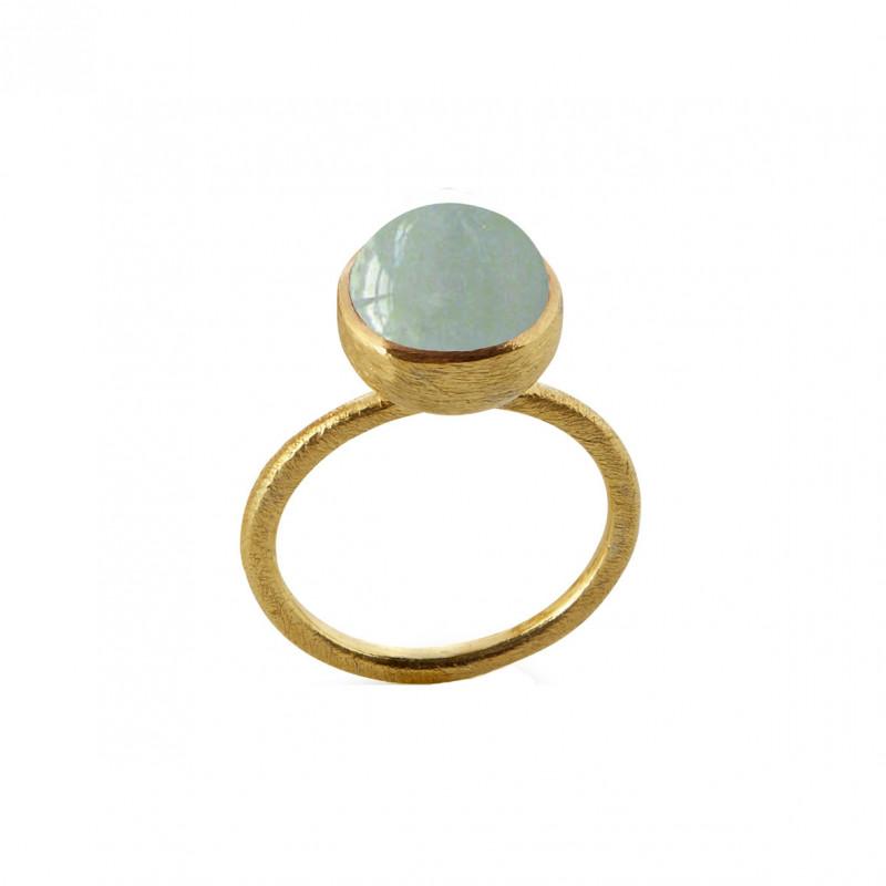 Ring i forgyldt sølv med aquamarin - 10 mm - 1678-2-156