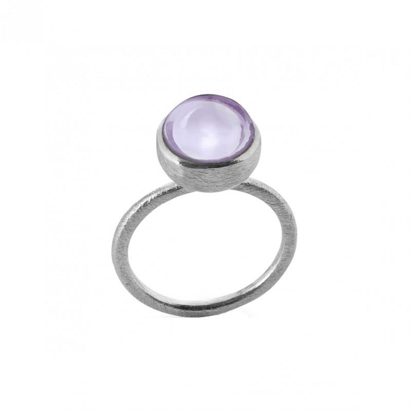 Ring i sølv med lys ametyst - 10 mm - 1678-1-198