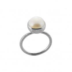 Ring i sølv med ferskvandsperle - 10 mm - 1678-1-900