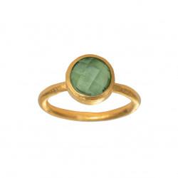 Ring i forgyldt sølv med faceteret grøn kvarts - 8 mm - 1659-2-107