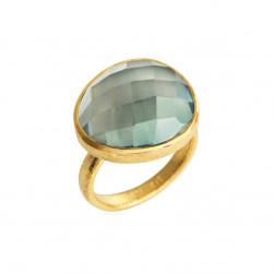 Ring i forgyldt sølv med stor faceteret grøn kvarts - 1649-2-107 - 1