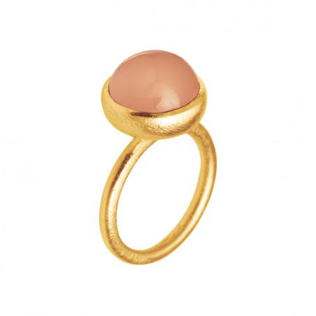 Ring i forgyldt sølv med peach månesten - 12 mm