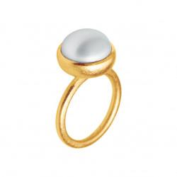 Ring i forgyldt sølv med ferskvandsperle - 12 mm - 1660-2-900