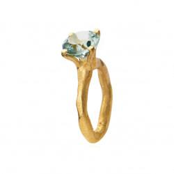 Rustik ring i forgyldt sølv med faceteret grøn kvarts - 1631-2-107