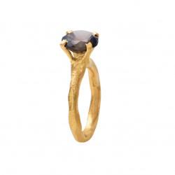 Rustik ring i forgyldt sølv med faceteret røg kvarts - 1643-2-108