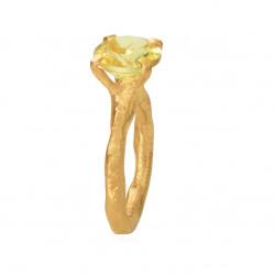 Rustik ring i forgyldt sølv med faceteret lime kvarts - 1644-2