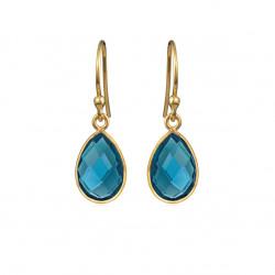 Ørehænger med faceteret London blue krystal - 4068-2-174