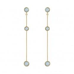Ørehænger med 3 lyseblå krystaller - 5561-2-111