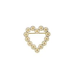 Marguerit broche - hjerte i forgyldt sølv  14x5mm - 904252-M
