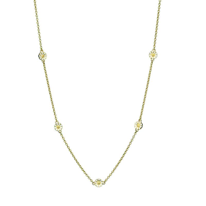 Marguerit kæde i forgyldt sølv med 5 margueritter - 90207045-M