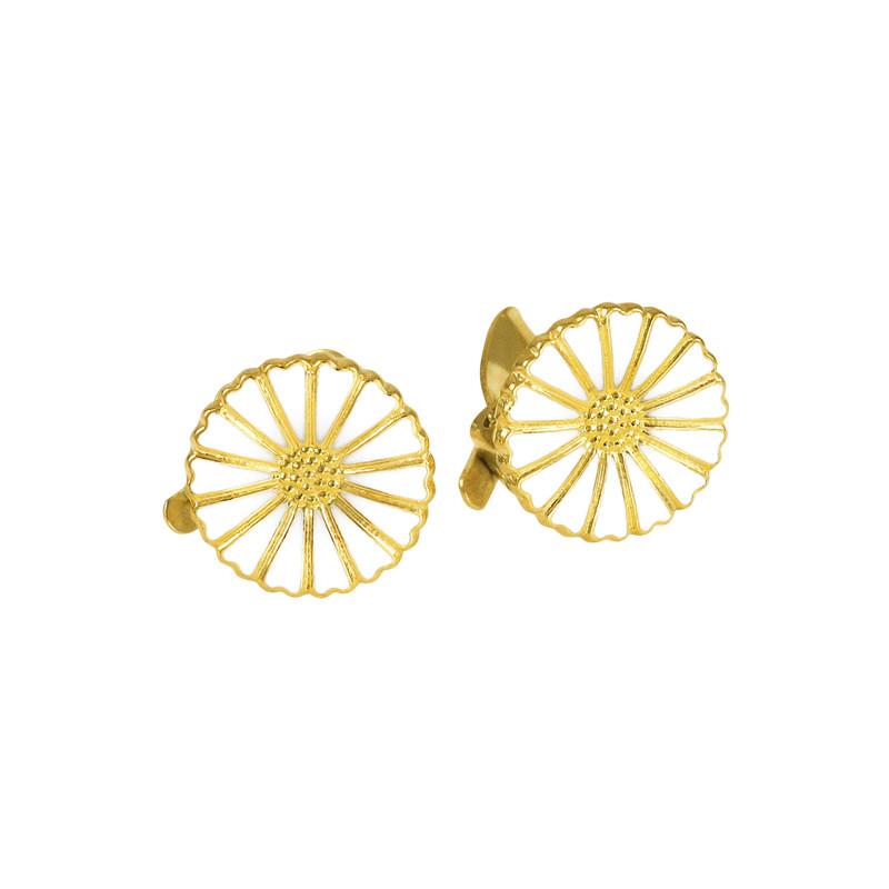 Marguerit øreclips i forgyldt sølv 11mm - 909011-0-M