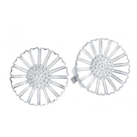 Marguerit øreclips i sølv 18mm