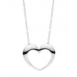 Halskæde - rund anker med åben hjerte - 80cm - 90256980