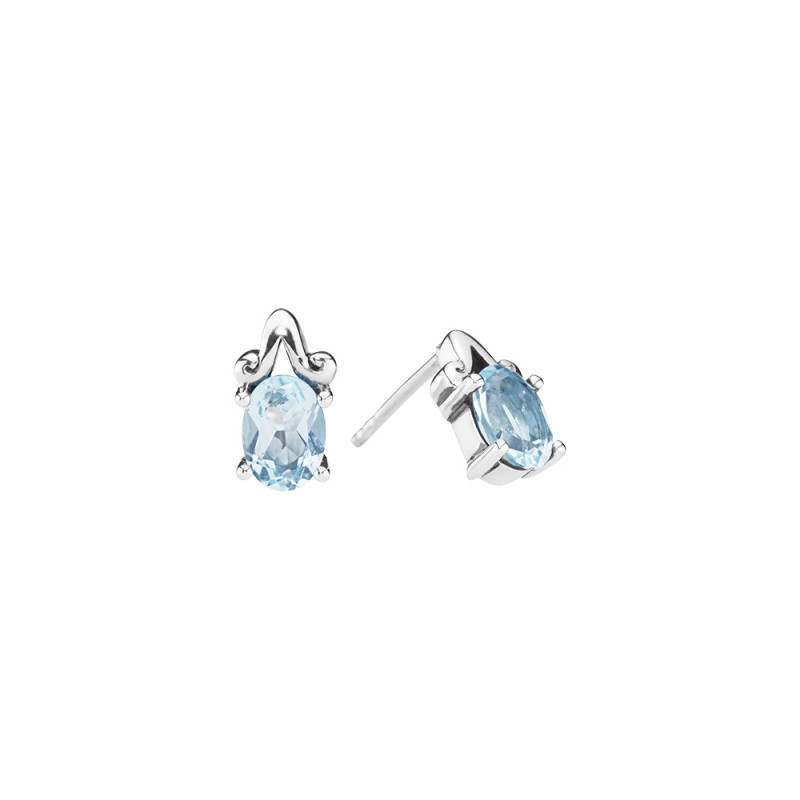 Ørestik med blå topaz - 9091037-4-16
