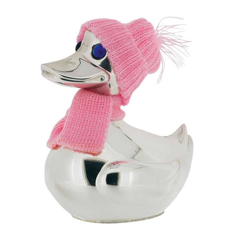 Forsølvet sparebøsse - And med pink tøj - 152-96005