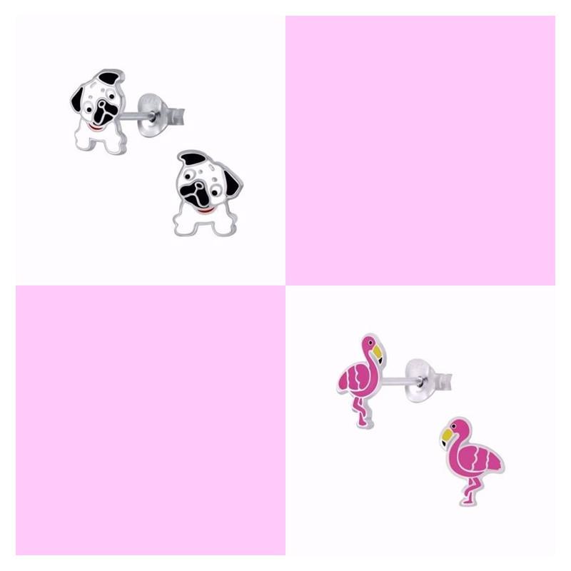 Sølv ørestikker med Hund og Flamingo - 2 par - 11303-11305