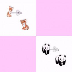 Sølv ørestikker med Tiger og Panda - 2 par - 11306-11298