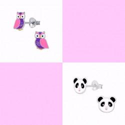 Sølv ørestikker med Ugle og Pandadreng - 2 par - 11300-11299