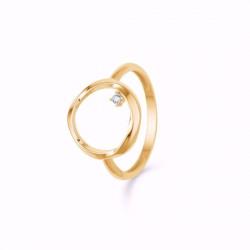 Ring 8 kt. rødguld - bølget cirkel med zirconia - 8318608