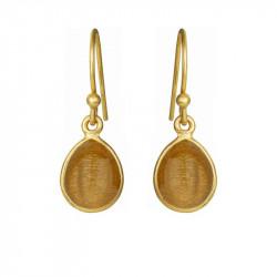 Øreringe med glat dråbe - gylden månesten - 5249-2-199