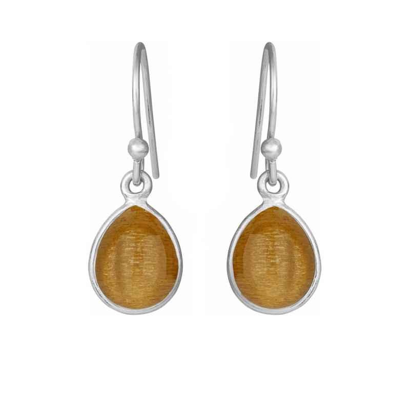 Øreringe med glat dråbe - gylden månesten - 5249-1-199