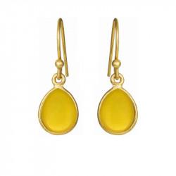 Øreringe med glat dråbe - gul opal krystal - 5249-2-202