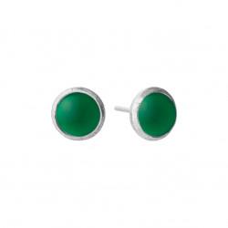 Ørestikker i forgyldt sølv med grøn agate - 5062-1-102