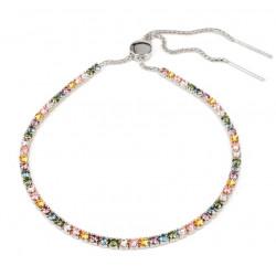 Tennisarmbånd med pastelfarvede sten - 3717