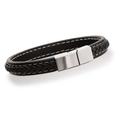 Herrearmbånd i sort læder m. stål lås