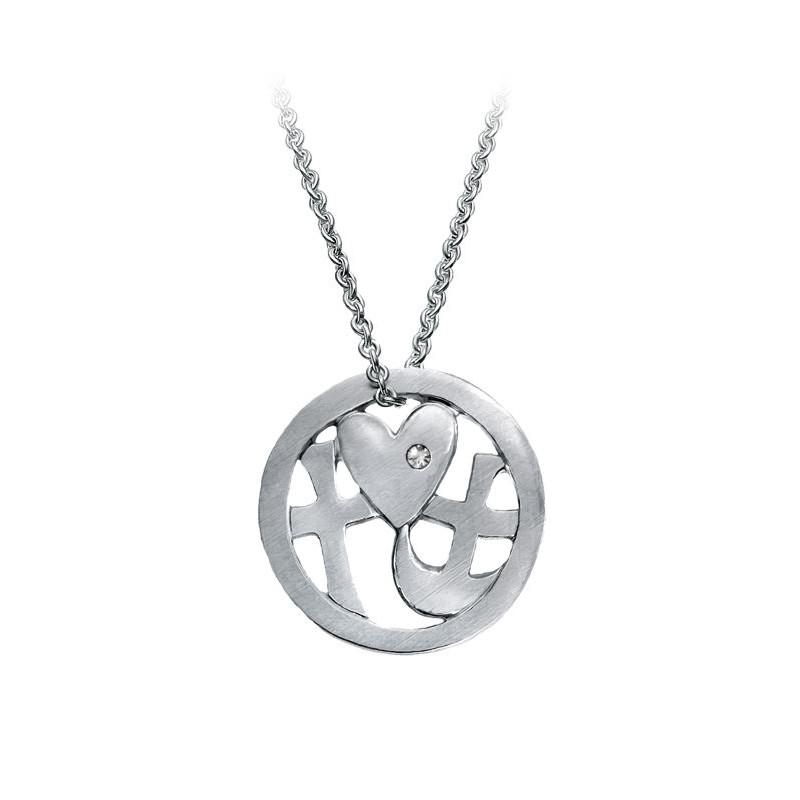 Halskæde Tro, håb & Kærlighed - Sølv med zirconia - 1032rh - 1
