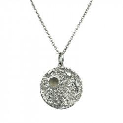Halskæde Moon med grå månesten - Sølv - 1061rh - 1