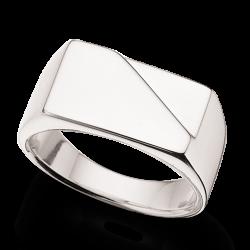 Herrering m. plade sølv