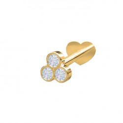 Guld Labret-piercing/ørering med 3 diamanter 0,04ct - 14kt. - 314 007BR5 1