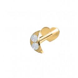 Guld Labret-piercing/ørering måne med 2 diamanter 0,008ct - 14kt. - 314 006BR5