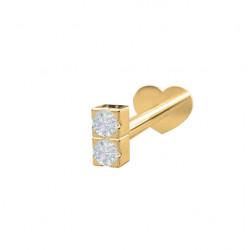 Guld Labret-piercing/ørering med 2 diamanter 0,008ct - 14kt. - 314 004BR5 1