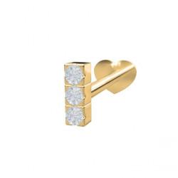 Guld Labret-piercing/ørering med 3 diamanter 0,012ct - 14kt. - 314 003BR5 1