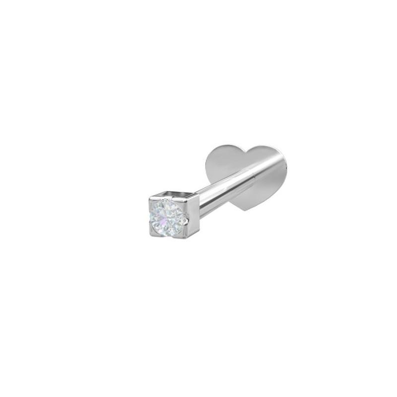 Sølv Labret-piercing/ørering med 1 zirkonia - 314 005CZ9 1