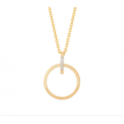 Vedhæng med cirkel i 14kt guld med brillanter 0,02ct incl. forgyldt kæde - 218 046BR5