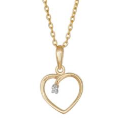 Hjerte vedhæng i 14kt guld med brillant 0,005ct incl. forgyldt kæde - 255 204BR5