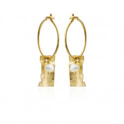 Øreringe med rektangel og ferskvandsperle - 5626-2-900