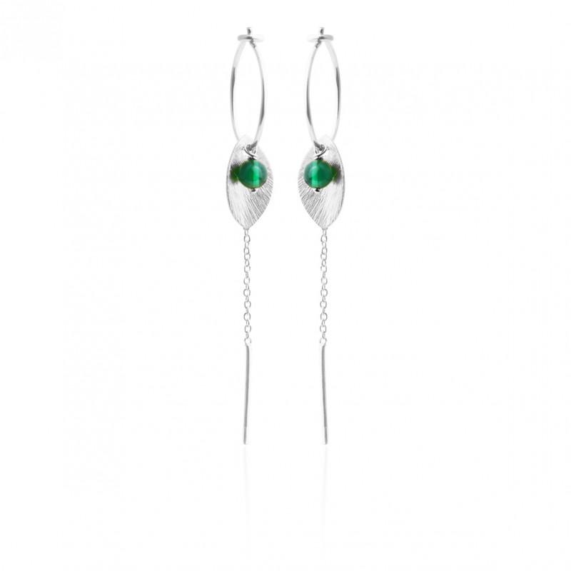 Øreringe med blad, kæde og grøn agat - 5629-1-102