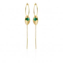 Øreringe med blad, kæde og grøn agat - 5629-2-102